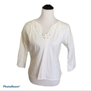 3/$15 Lace Trimmed Tucked 3/4 Sleeve Top